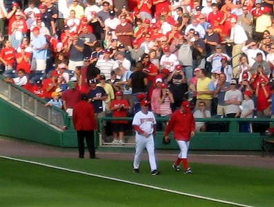Stephen Strasburg makes his first entrance from the bullpen at Nationals Park