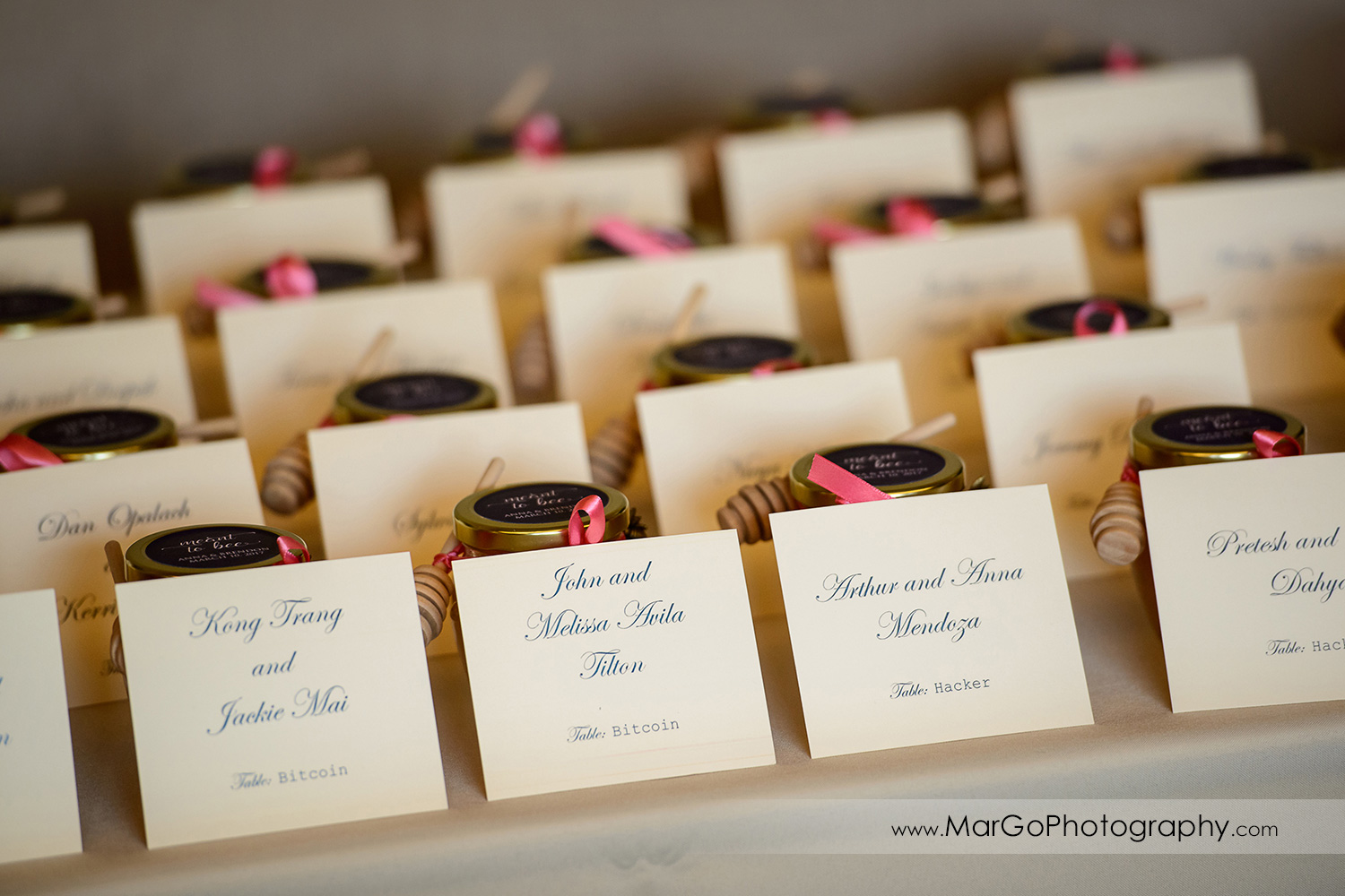 wedding escort cards at Brazilian Room - Tilden Regional Park, Berkeley, CA