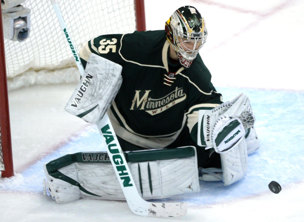 . Wild goalie Darcy Kuemper makes one of his 22 saves during the third period against the Avalanche. (Pioneer Press: Sherri LaRose-Chiglo)
