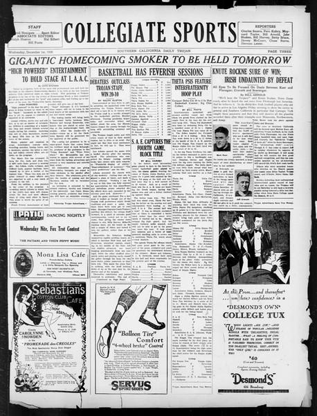 Daily Trojan, Vol. 18, No. 52, December 01, 1926