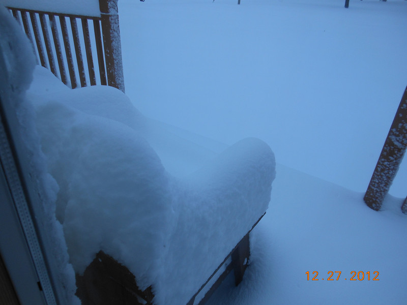 December snow on our deck.