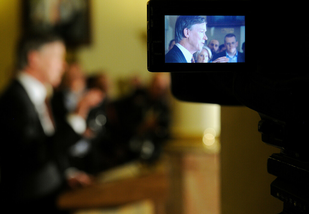 . DENVER,CO. - MARCH 20:  Governor John Hickenlooper  in a tv camera screen as he held a press conference at the state capitol  on Wednesday, March 20, 2013 after he signed three gun bills earlier in the morning.   (Photo By Cyrus McCrimmon/The Denver Post)