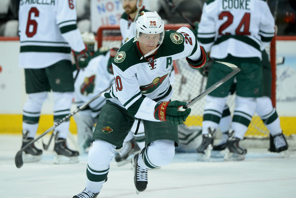 . Ryan Suter (20) of the Minnesota Wild skates before the first period of action. The Colorado Avalanche hosted the Minnesota Wild at the Pepsi Center on Thursday, April 17, 2014. (Photo by Karl Gehring/The Denver Post)