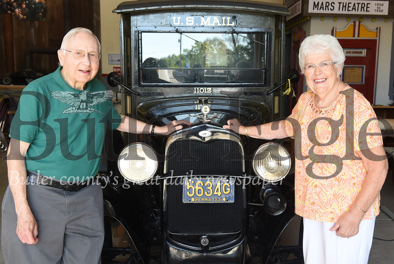 Harold Aughton/Butler Eagle: Charles Norton and Elaine Brown, classmates of the Mars class of 1949, stand in front of a 1931 Model A Ford Mail Truck at the Mars Area History and Landmarks Society. Interestingly both Norton and Brown were born in 1931.