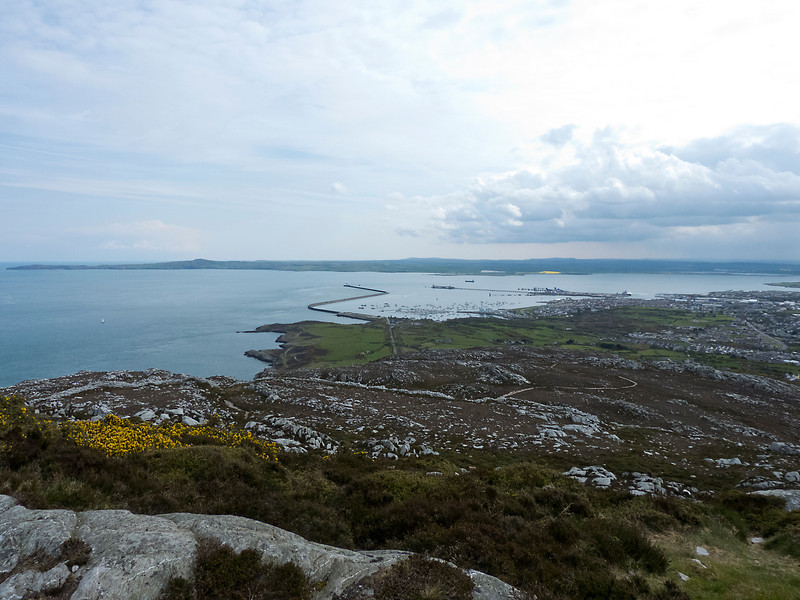 The view of Holyhead Bay on Anglesey taken from Holyhead Mountain which we climbed. This part of Anglesey is known as Holy Island.