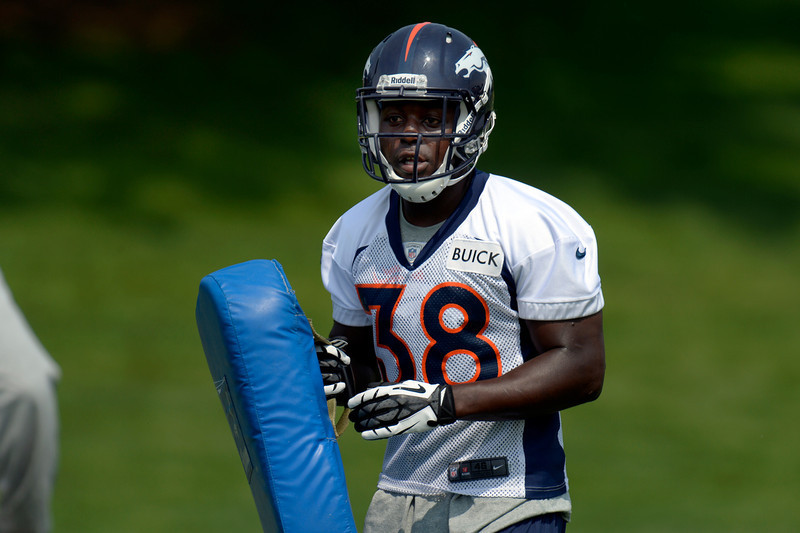 . Monte Ball (38) RB of the Denver Broncos runs through drills during the last day of  minicamp June 13, 2013 at Dove Valley. (Photo By John Leyba/The Denver Post)