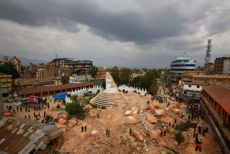 . One of the Kathmandu \'s landmark Bhimsen tower is seen in rubbles after it was damaged in Saturdayís earthquake, in Kathmandu, Nepal, Sunday, April 26, 2015. The earthquake centered outside Kathmandu, the capital, was the worst to hit the South Asian nation in over 80 years. It destroyed swaths of the oldest neighborhoods of Kathmandu, and was strong enough to be felt all across parts of India, Bangladesh, China\'s region of Tibet and Pakistan.(AP Photo/Niranjan Shrestha)