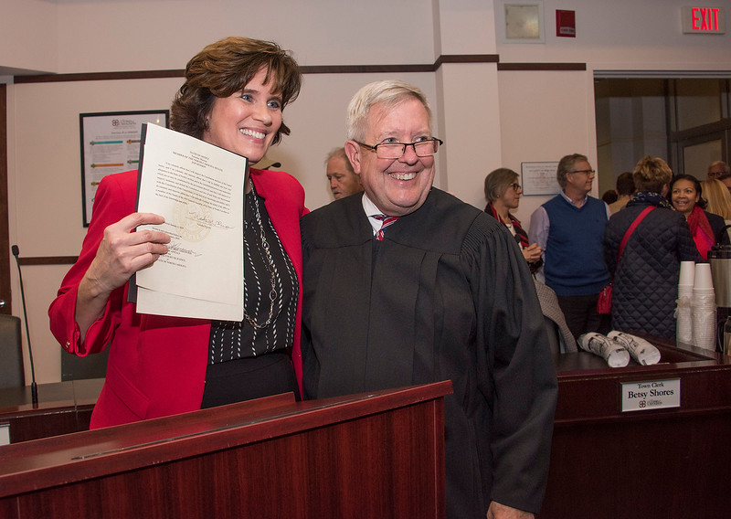 Court of Appeals Judge John Arrowood administered the Oath of Office that Senator Marcus signed to make her election official. (Bill Giduz photo)