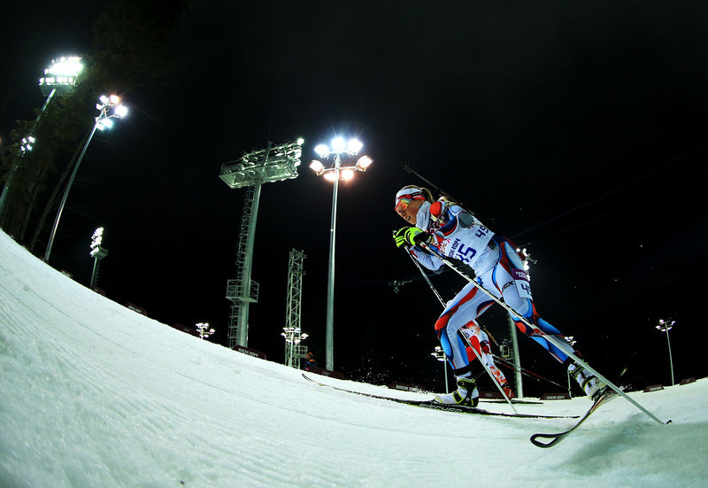 . Eva Puskarcikova of the Czech Republic competes in the Women\'s 10 km Pursuit during day four of the Sochi 2014 Winter Olympics at Laura Cross-country Ski & Biathlon Center on February 11, 2014 in Sochi, Russia.  (Photo by Richard Heathcote/Getty Images)