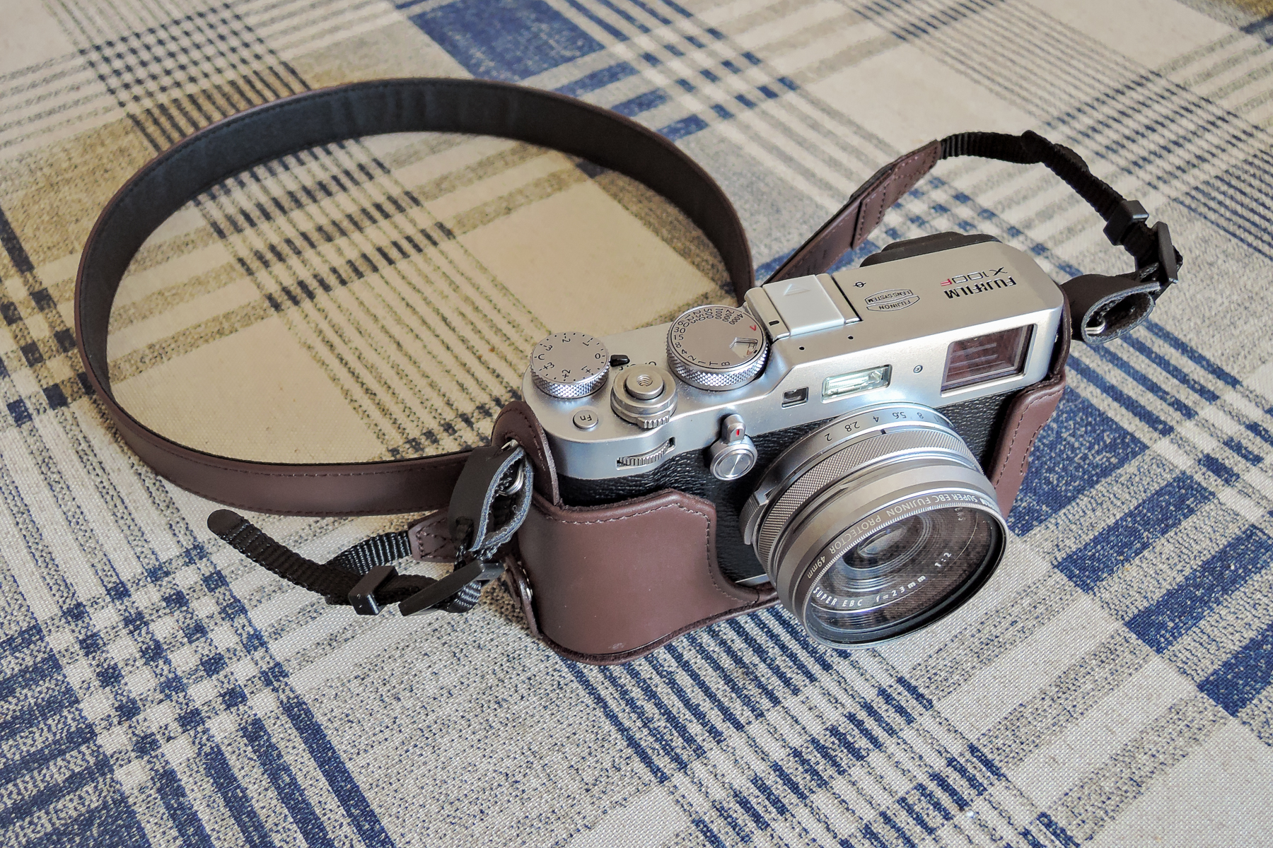 X100F in the leather case