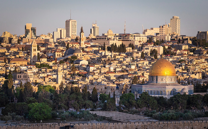 Early morning  Old Jerusalem with some of the high rises of New Jerusalem on the horizon