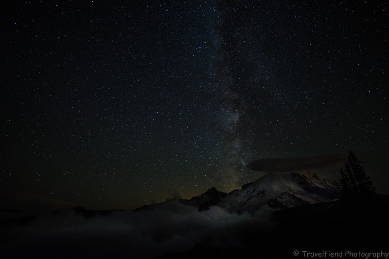 The Milky Way over Mt. Rainier.
