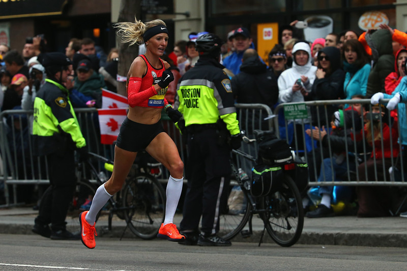 . Shalane Flanagan of the United States runs down Boylston Street during the 119th Boston Marathon on April 20, 2015 in Boston, Massachusetts. Flanagan finished ninth with a time of 2:27:47. (Photo by Maddie Meyer/Getty Images)