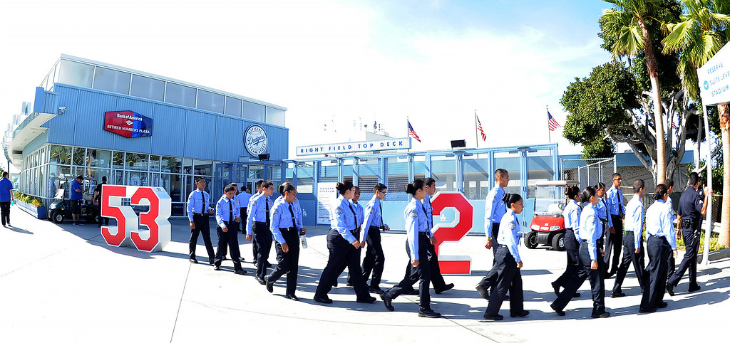 . Los Angeles cadets walk outside the stadium prior to a Major league baseball game between the San Diego Padres and the Los Angeles Dodgers on Saturday, July 12, 2014 in Los Angeles.   (Keith Birmingham/Pasadena Star-News)