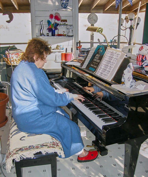 Shirley Lebin, jamming at the Lebin house, Jan 26 2002.