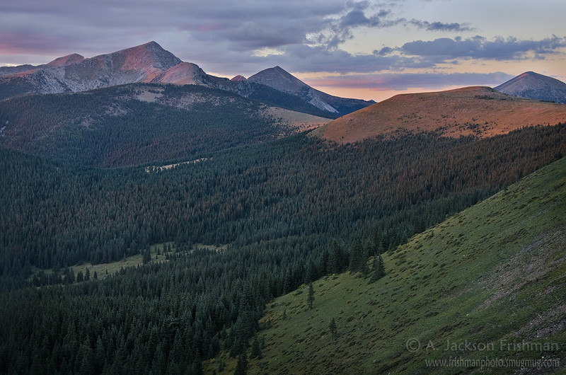 Sunset on the Truchas Peaks and Trailriders Wall, Pecos Wilderness, New Mexico, September 2011.