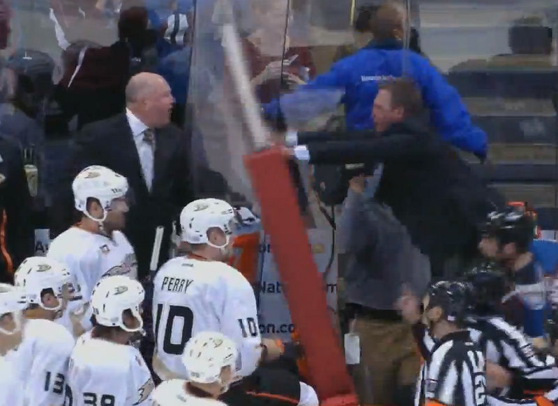 """. <p>10. (tie) PATRICK ROY & BRUCE BOUDREAU <p>Most coaches wait until the second game of the season before starting a bench-breaking brawl. (unranked) <p><b><a href=\'http://www.sportingnews.com/nhl/story/2013-10-03/patrick-roy-bruce-boudreau-fight-avs-ducks\' target=\""""_blank\""""> HUH?</a></b> <p>       (Photo from YouTube)"""