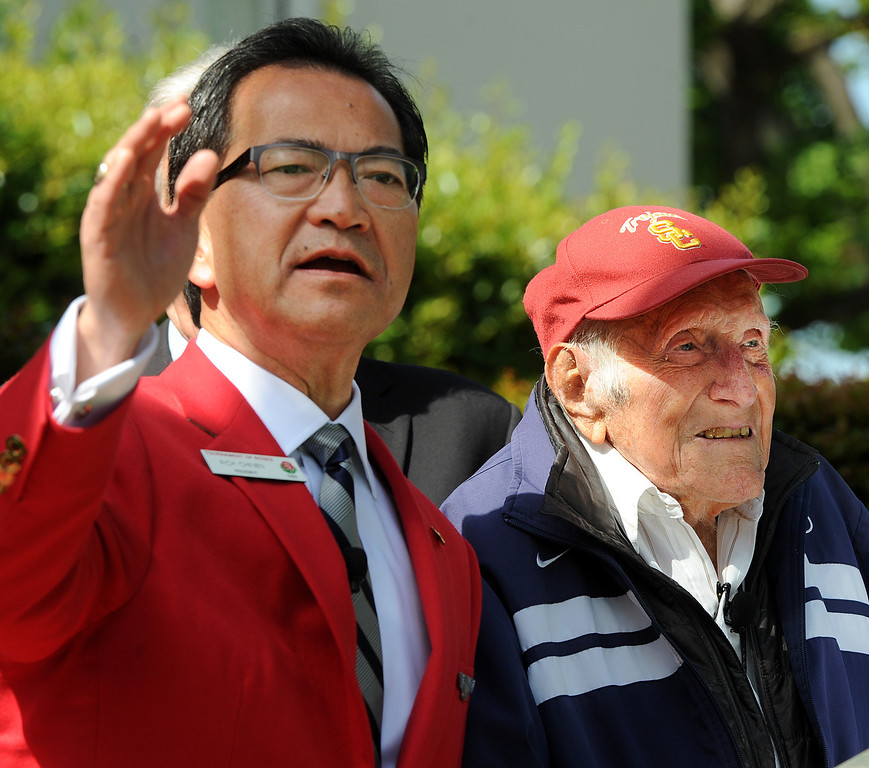 . Tournament President Richard L. Chinen, left, with Louis Zamperini, who attended USC, was selected 2015 Tournament of Roses Grand Marshal. Olympian and World War II prisoner of war, Louis Zamperini, a true American Hero who survived excessive hardships. (Photo by Walt Mancini/Pasadena Star-News)