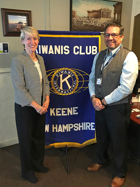 President Mooney at the Keene Kiwanis  with Cheshire County Sheriff, Eli Rivera, FP Class of 1997.