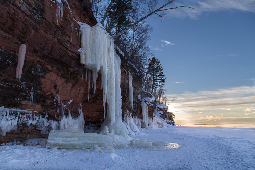 . Several frozen waterfalls could be spotted along the Lake Superior Cliffs. The rise and fall of the lake\'s ice sheet caused some waterfalls to break and crumble. (Pioneer Press: Andy Rathbun)
