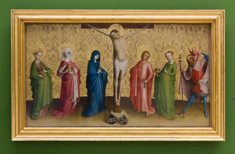 Christus am Kreuz und Heilige (Stefan Lochner, um 1440, GNM)