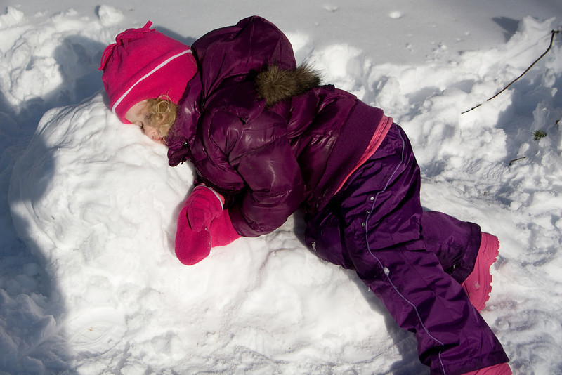 Beverly sleeps on her snow bed