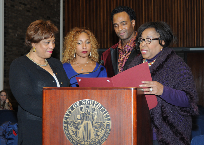 . Southfield Mayor Brenda Lawrence and City Council President Sylvia Jordan honored Marcus on behalf of the the city during a council meeting. Photo courtesy of Park West Gallery