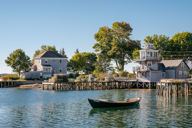 Boats Moored in Small Maine Harbor of Bernard