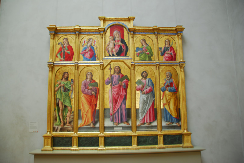Renaissance painting of Jesus, Mary and Saints in Getty Museum in California