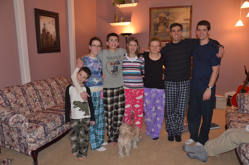 Everybody got pajama bottoms as a present from mom on Christmas Eve.