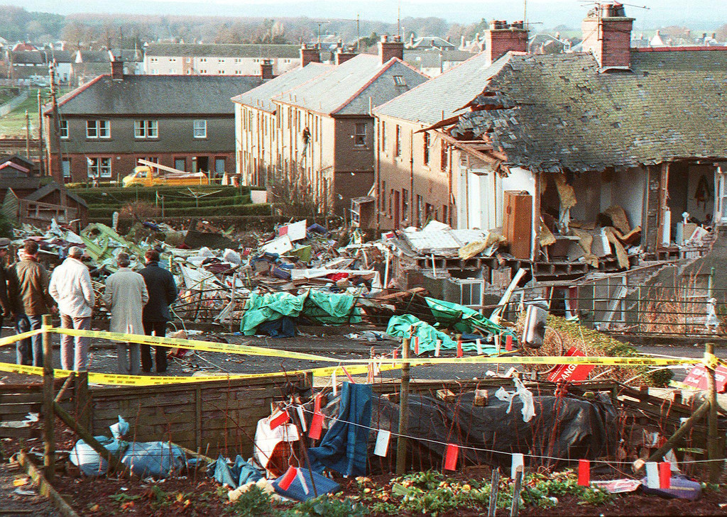 ". A file picture taken in Lockerbie, Scotland, on December 22, 1988, shows damage caused by the explosion of Pan Am flight 103 that exploded killing all 259 people aboard. British Prime Minister David Cameron on Saturday December 21, 2013, expressed Britain\'s ""unconditional admiration\"" for the families of the victims of the Lockerbie bombing on the attack\'s 25th anniversary.  AFP PHOTO / ROY LETKEY/AFP/Getty Images"