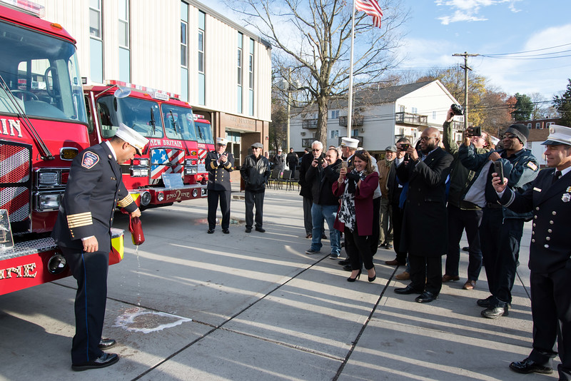 11/14/18  Wesley Bunnell | Staff  The New Britain Fire Department unveiled three new fire trucks on Wednesday afternoon during a ceremony at their Beaver St headquarters. Fire Chief Raul Ortiz dedicated Engine 5 by smashing a bottle of champagne across its bumper.