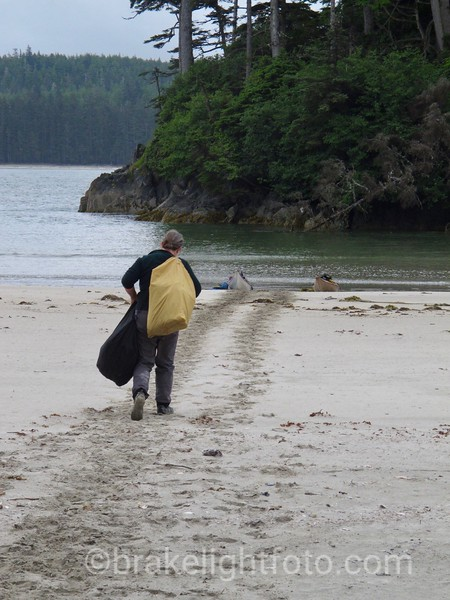 Hauling Gear to the Kayaks at Lepas Bay