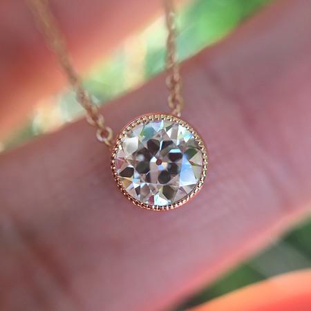 .48ct Old European Cut Diamond Bezel Pendant, Rose Gold