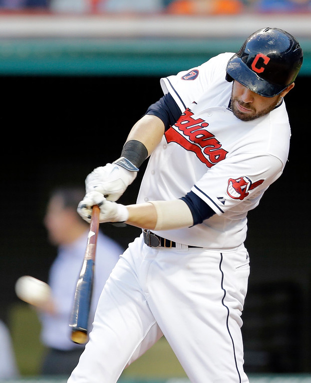 . Cleveland Indians� Jason Kipnis hits a two-run double off Detroit Tigers pitcher Kyle Ryan in the third inning of a baseball game Monday, June 22, 2015, in Cleveland. Giovanny Urshela and Roberto Perez scored on the play. (AP Photo/Tony Dejak)