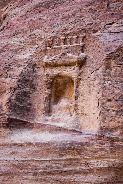 Cut stone remains visible after centuries inside Petra, Jordan.