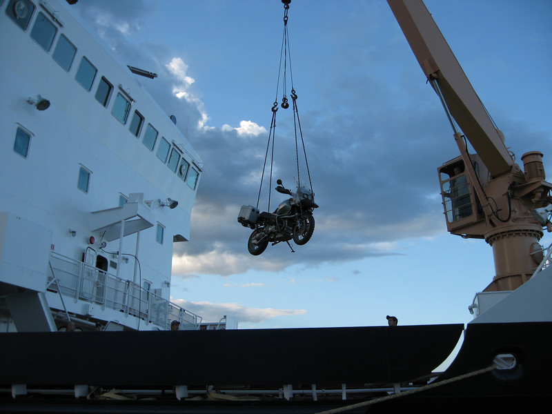 Loading the bike onto the ship