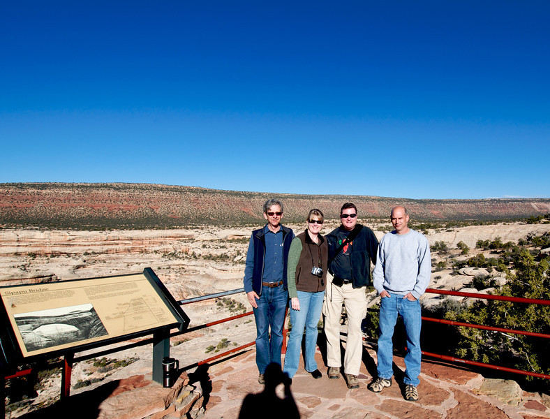 Phil and Susan Hudgens, me and Mike Hall and the shadow of a guy who ran off with my camera.   Not really.  This is at a drive-through national park with a bunch of natural bridges. Just a side trip on the way to Canyonlands.