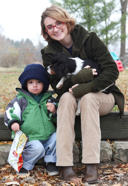 Jill, Huner and the dog in Mattoon, Illinois on Saturday, November 20, 2010.  (Jay Grabiec)