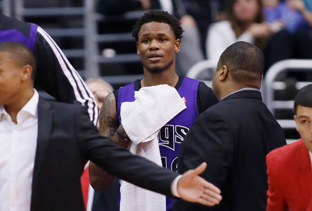 . Sacramento Kings guard Ben McLemore looks back at the court after being ejected for a technical foul on Los Angeles Clippers guard J.J. Redick during the second half of an NBA basketball game in Los Angeles, Saturday, April 12, 2014. The Clippers won 117-101. (AP Photo/Danny Moloshok)