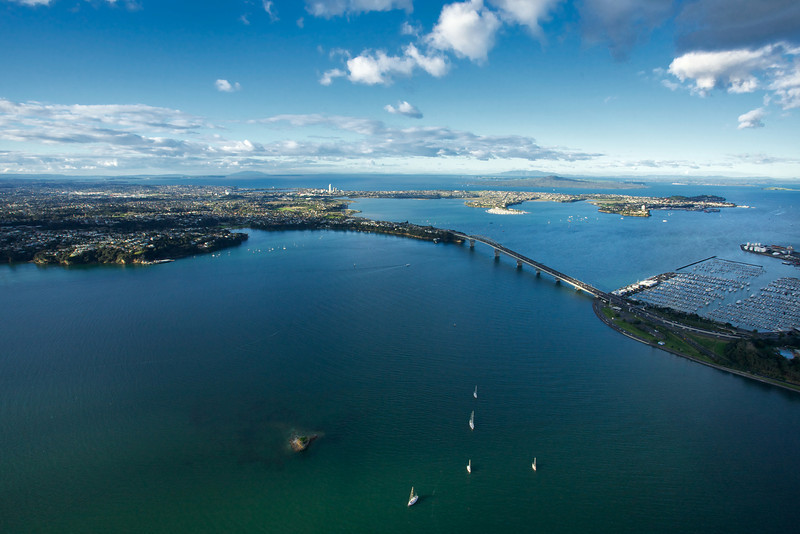 View over Auckland's Harbour Bridge on the Waitemata Harbour looking towards the North Shore