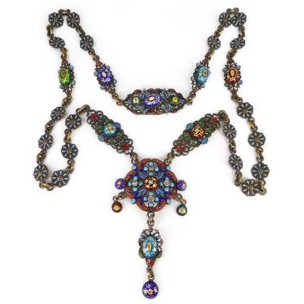 Antique Victorian Bressan Enamel Jewel Toned Paste Panel Necklace