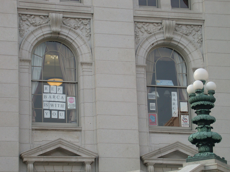 Legislators' signs of support and protest, Wisconsin State Capitol