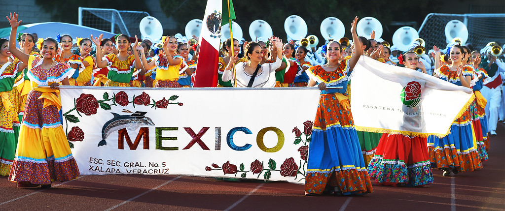 . Delfines Marching Band from Xalapa, Veracruz, Mexico performing at Bandfest presented by REMO Monday, December 29, 2014. These feature bands selected to participate in the 2015 Rose Parade. Over the course of two days, each band, along with its auxiliary performers, will present the field show that has led to its success. Three Bandfest events will take place at Pasadena City College on December 29 and 30, 2014..(Photo by Walt Mancini/Pasadena Star-News)
