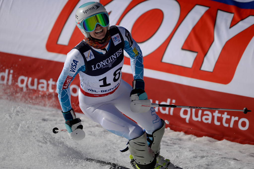 . BEAVER CREEK, CO - FEBRUARY 09: Julia Mancuso of the USA finishes her slalom run during the ladies\' alpine combined final. FIS Alpine World Ski Championships 2015 on Monday, February 9, 2015. (Photo by AAron Ontiveroz/The Denver Post)