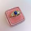 1.75ctw Cab Sapphire and Old European Cut Diamond 3-stone Ring 33