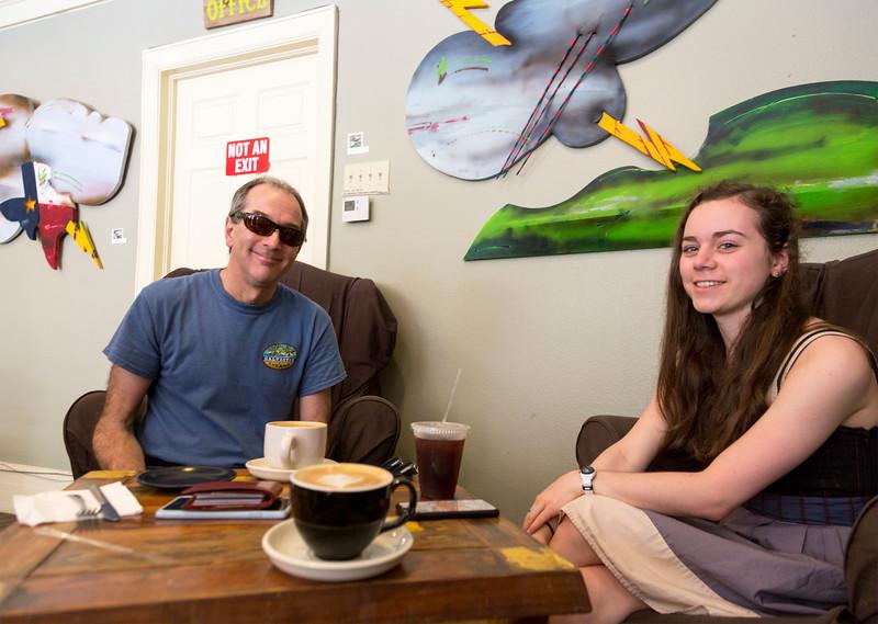 Sean and Hannah at Galveston's Mod Coffee Shop