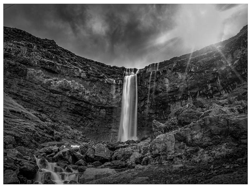 Faroe Waterfall    Black and White Photography by Wayne Heim