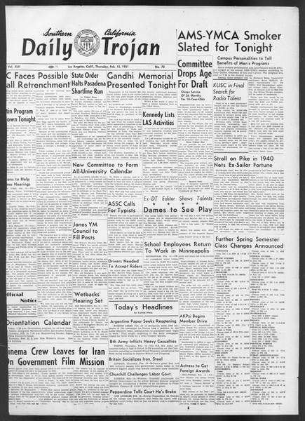 Daily Trojan, Vol. 42, No. 72, February 15, 1951