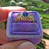 1.75ctw Cab Sapphire and Old European Cut Diamond 3-stone Ring 19